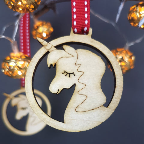 Unicorn Wooden Christmas Decoration (pack of 4)