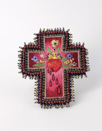 Broche croix cœur & fleurs / Brooch heart and flowers cross