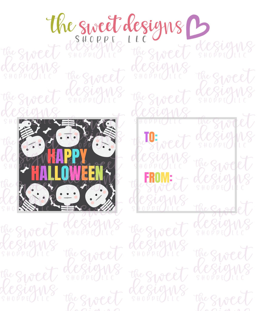 "Happy Halloween #3 - Instant Download 2"" x 2"" Tag"