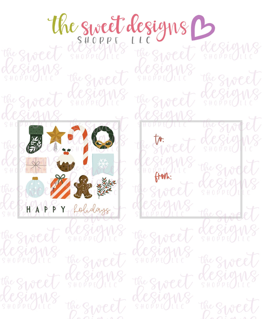 "Happy Holidays #1 - Instant Download 2"" x 2"" Tag"