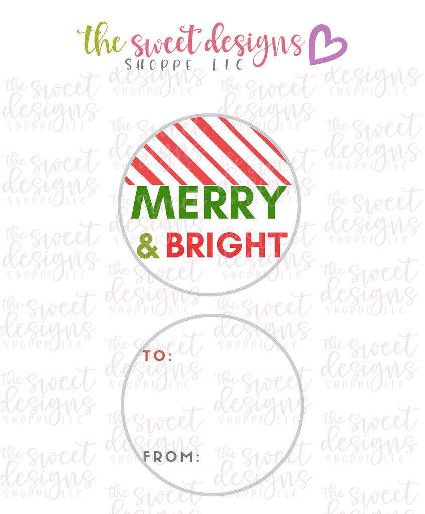 "Merry+Bright #6 -  Instant Download 2"" Round Tag"