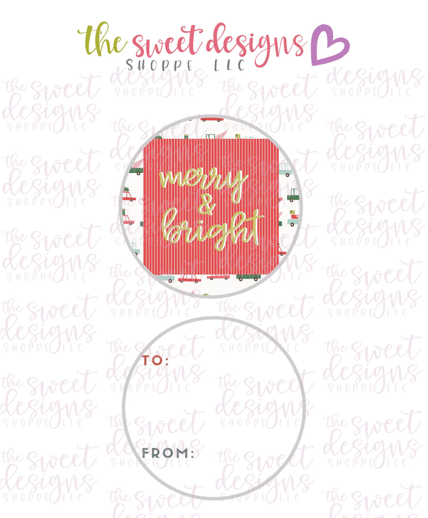 "Merry+Bright #4 -  Instant Download 2"" Round Tag"