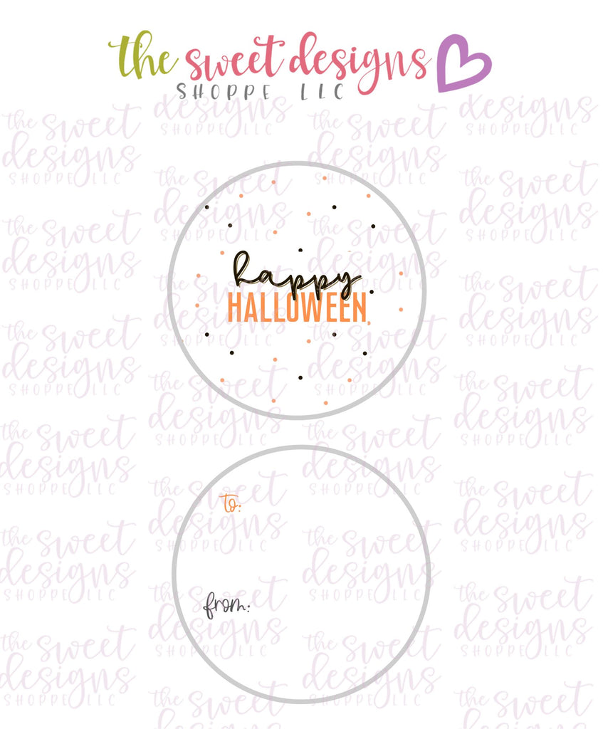 "Happy Halloween #5 -  Instant Download 2"" Round Tag"