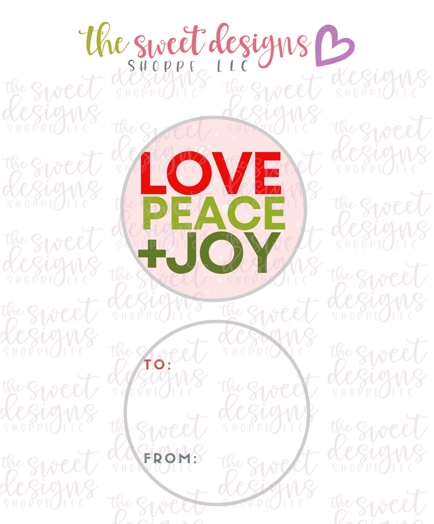 "LovePeace+Joy #1 -  Instant Download 2"" Round Tag"