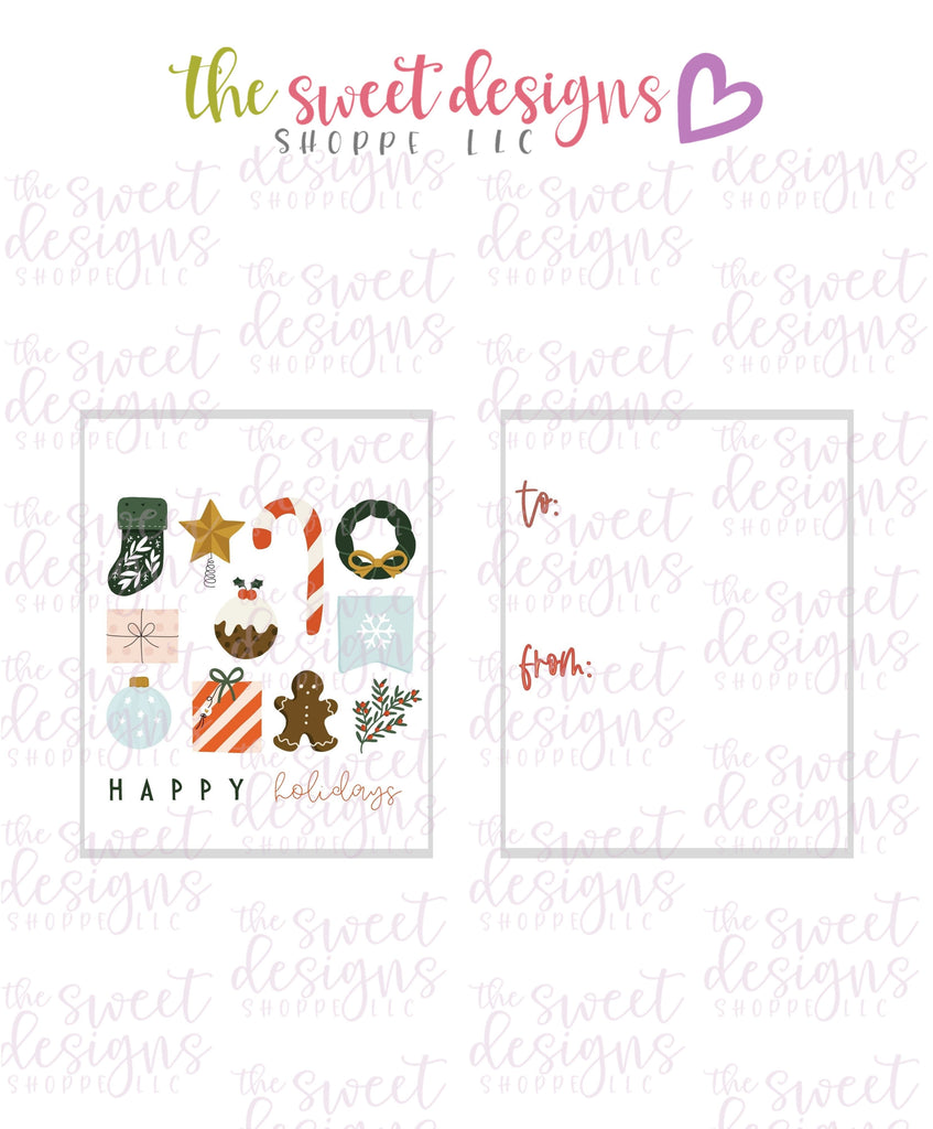 "Happy Holidays #1 - Instant Download 2"" x 2.5"" tag"