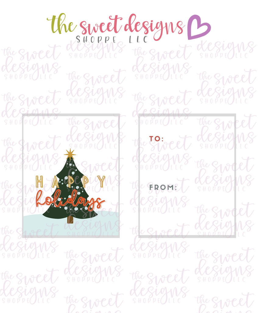 "Happy Holidays #2 - Instant Download 2"" x 2.5"" tag"