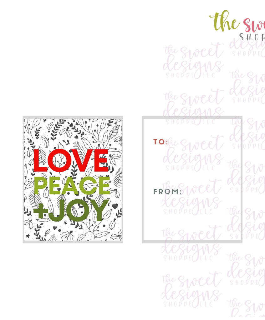 "LovePeace+Joy #3 - Instant Download 2"" x 2.5"" tag"
