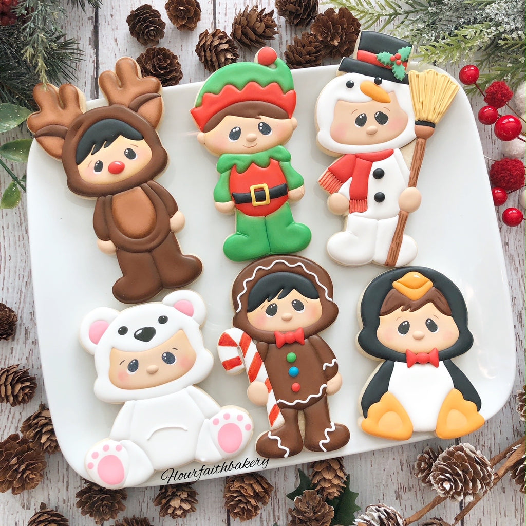 Flour & Faith Christmas Cuties Online Class Cutters Set - Set of 6 Cutters - Online Class not included.