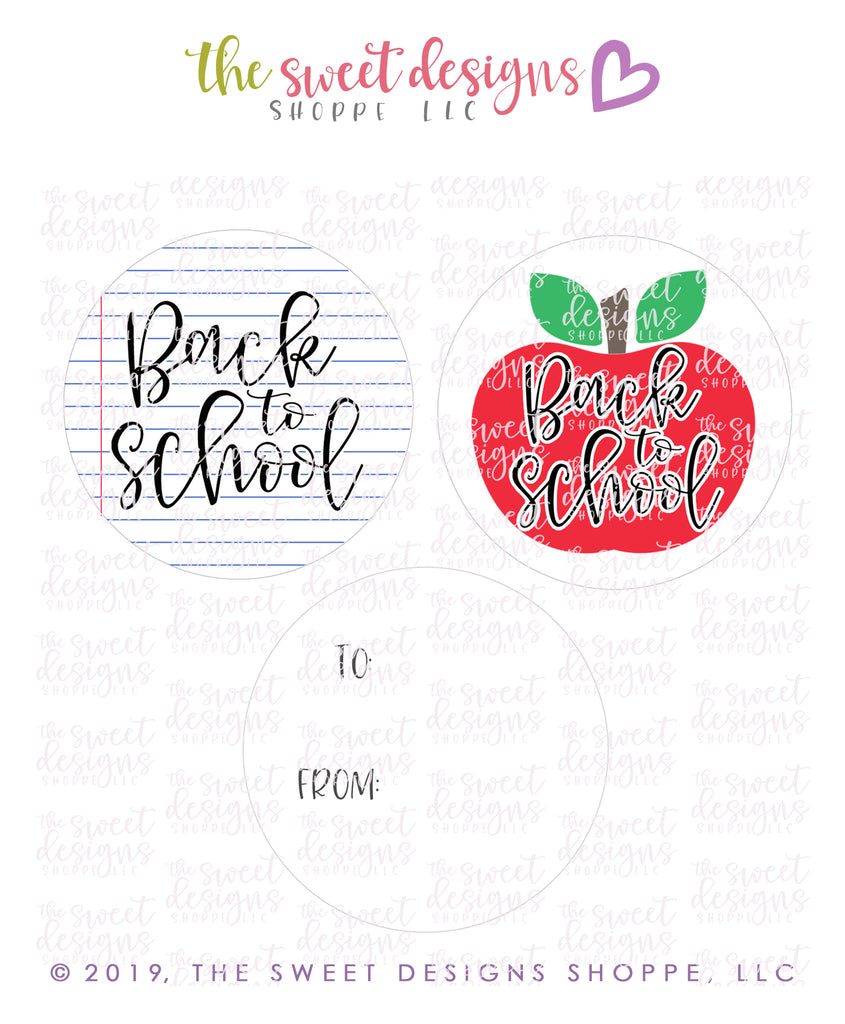 "Back to School -  Instant Download 2"" Round Tag"