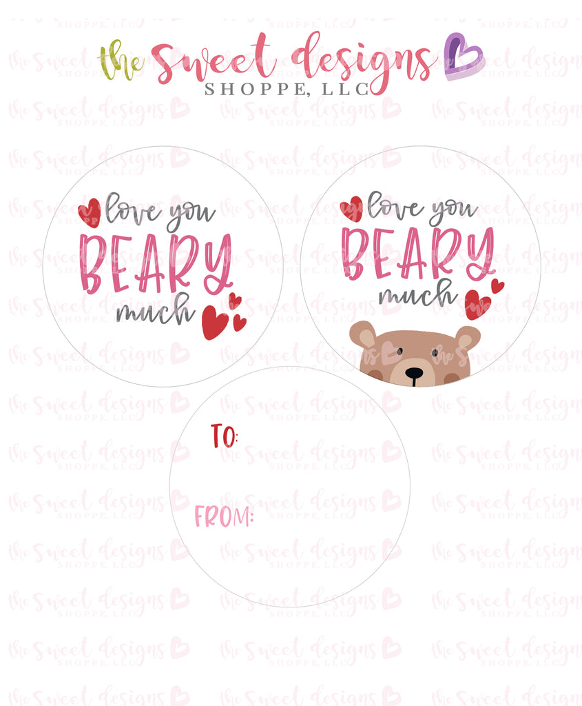 "Love you BEARY much - Instant Download 2"" Round Tag"