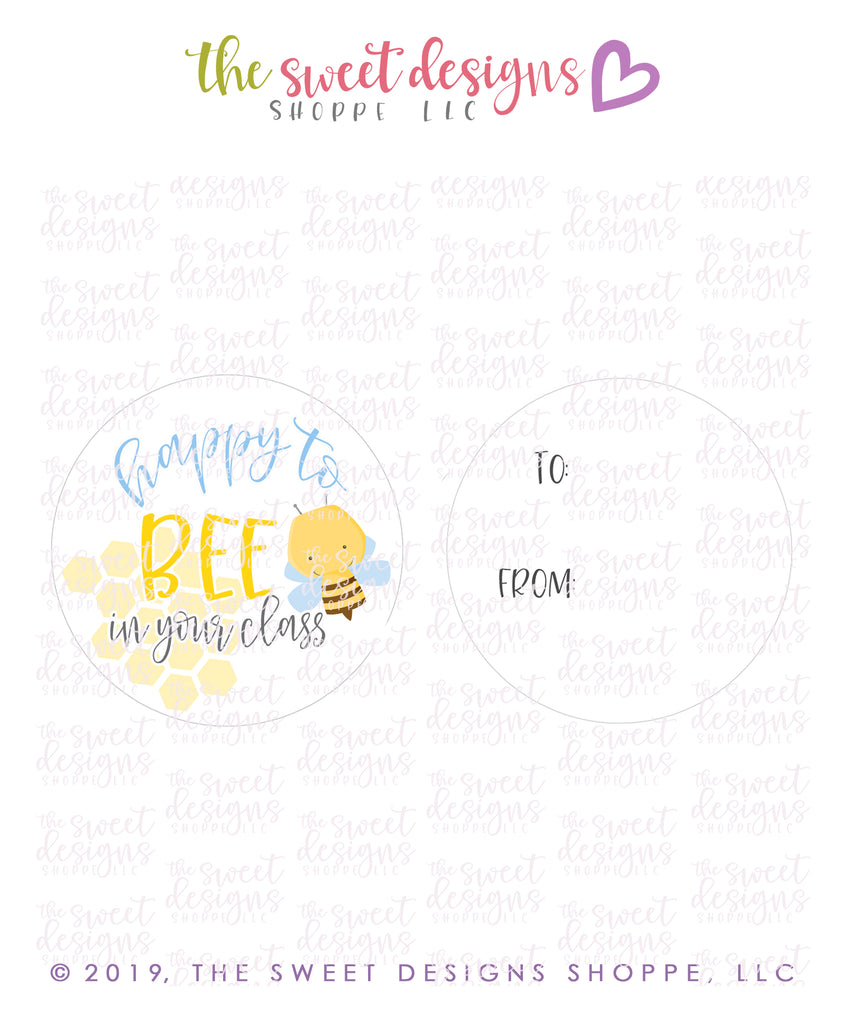 "Happy to BEE in your class - Instant Download 2"" Round Tag"