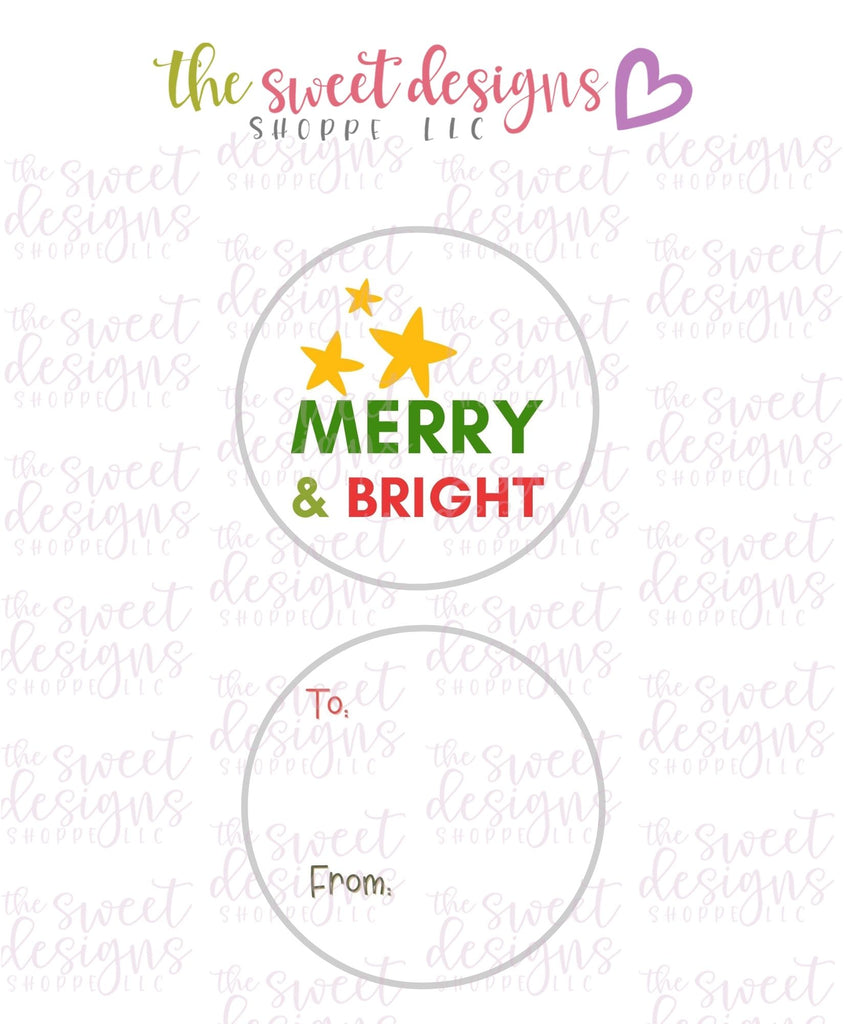 "Merry+Bright #5 -  Instant Download 2"" Round Tag"