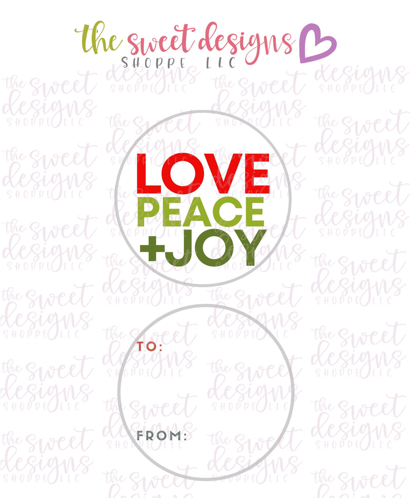 "LovePeace+Joy #2 -  Instant Download 2"" Round Tag"