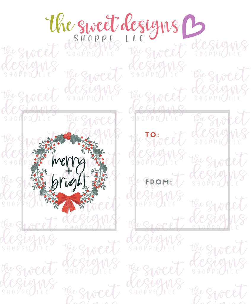 "Merry+Bright #3 - Instant Download 2"" x 2.5"" tag"