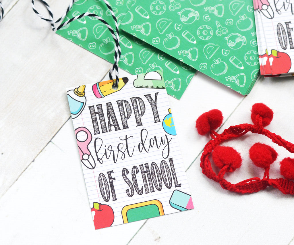Happy First Day of School - Set of 25 Tags , Pre-punched hole.