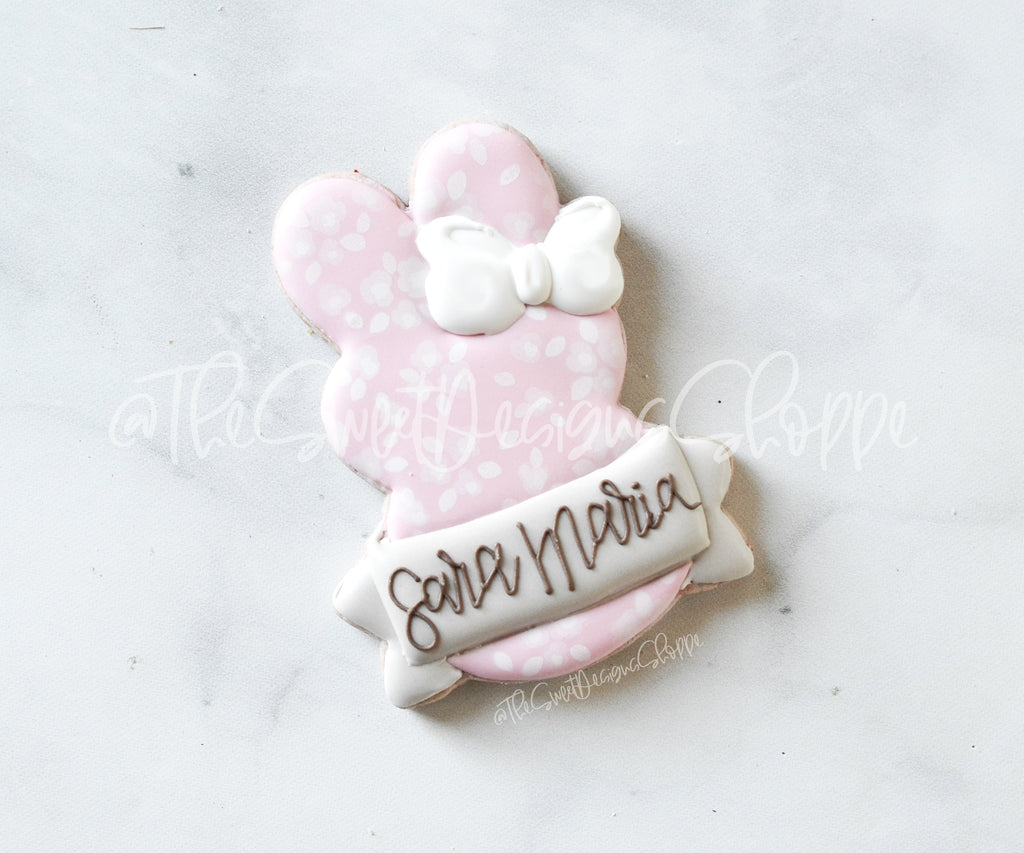 Girly Marshmallow Bunny with Ribbon - Cutter