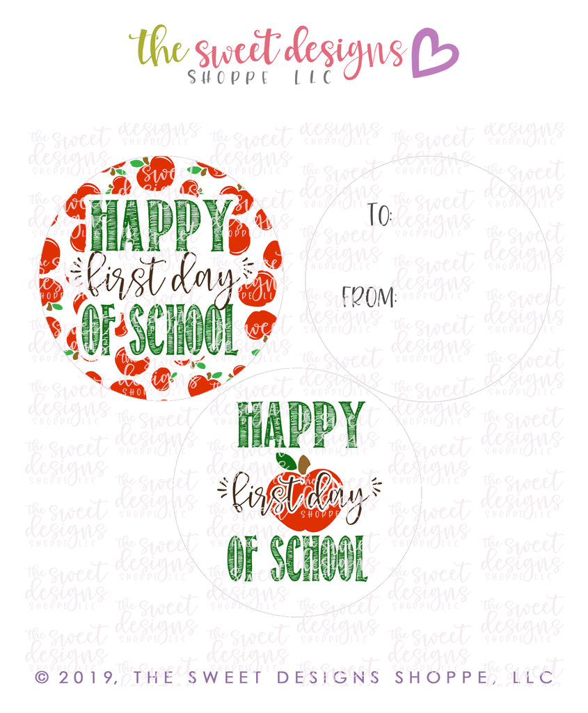 "Happy First Day -  Instant Download 2"" Round Tag"