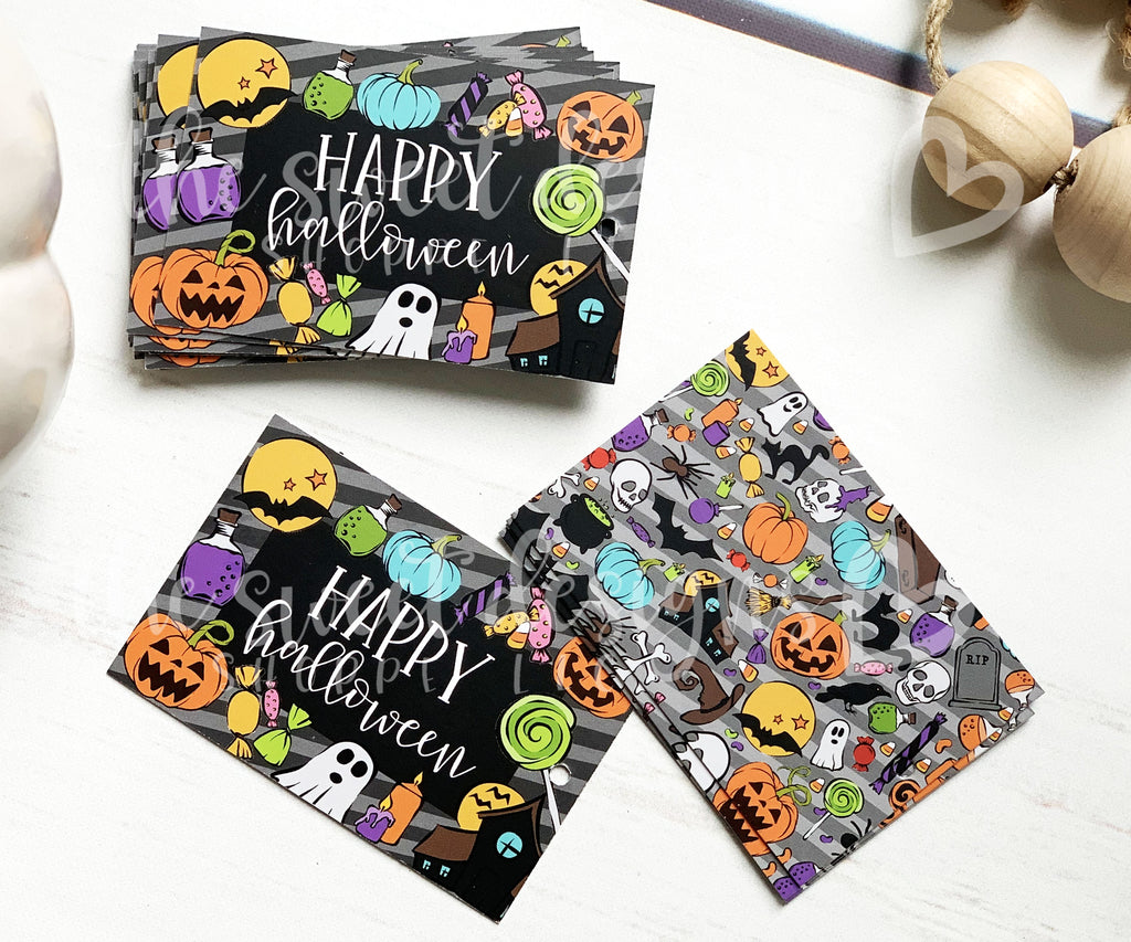Happy Halloween - Set of 25 Tags , Pre-punched hole.