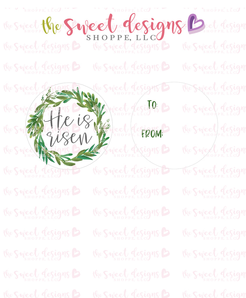 "He is Risen - Instant Download 2"" Round Tag"