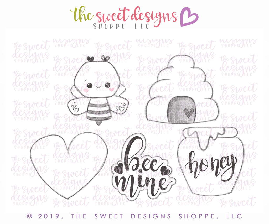 Valentines Mini Set Bee Mine - Cutters