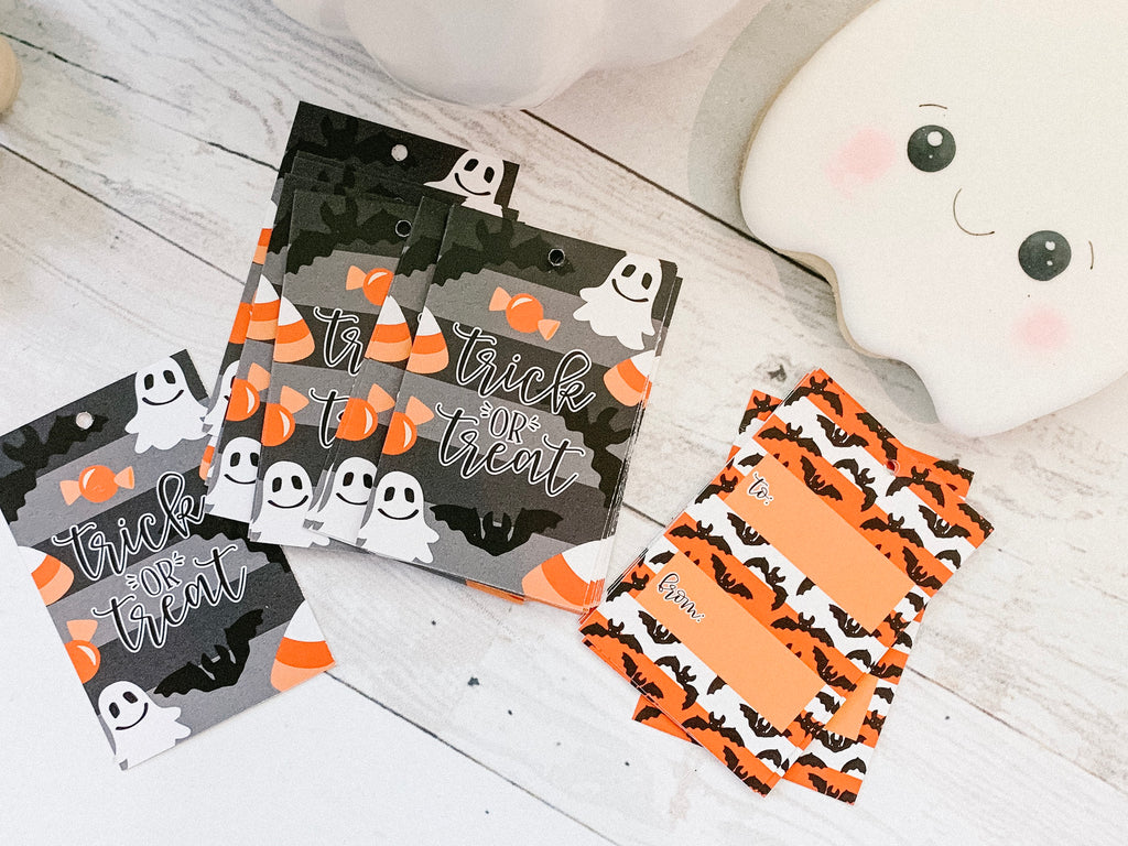 Trick or Treat - Set of 25 Tags , Pre-punched hole.
