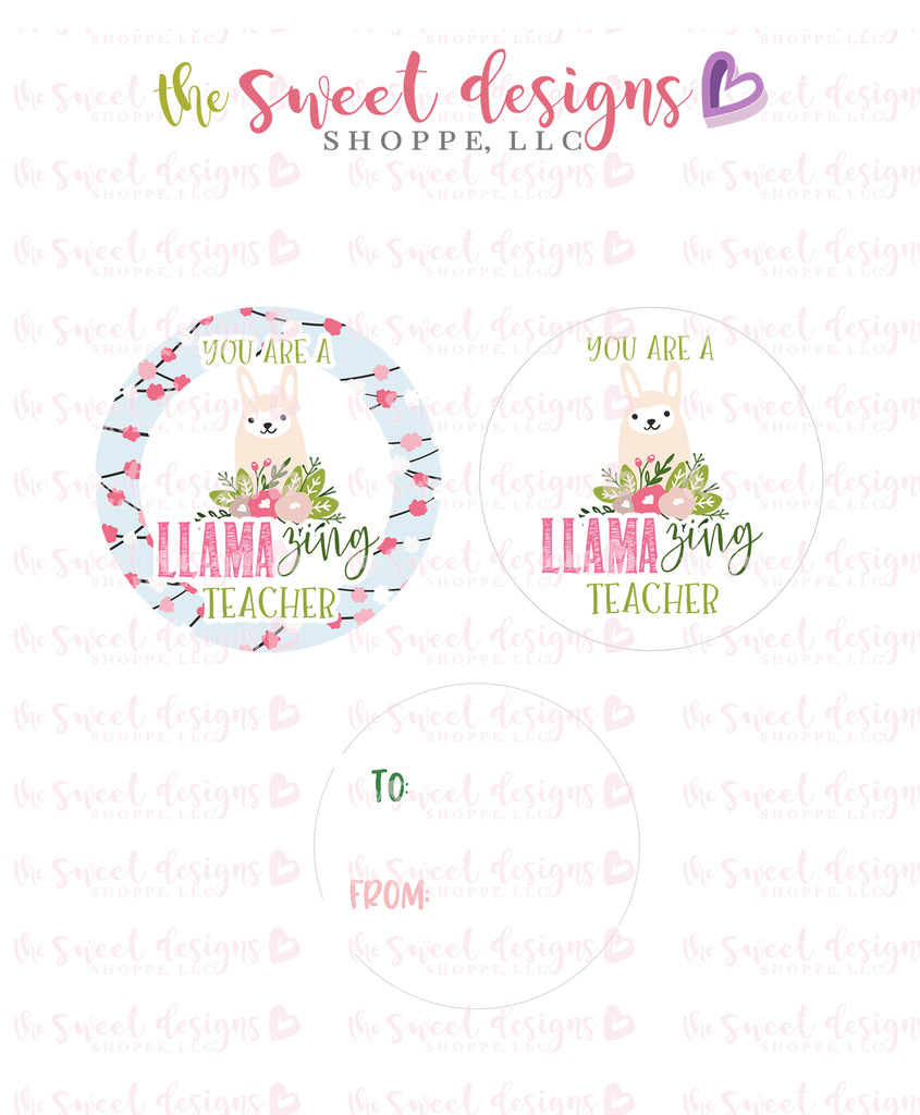 "Llamazing Teacher  - Instant Download 2"" Round Tag"