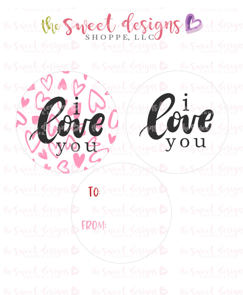 "I Love you - Instant Download 2"" Round Tag"