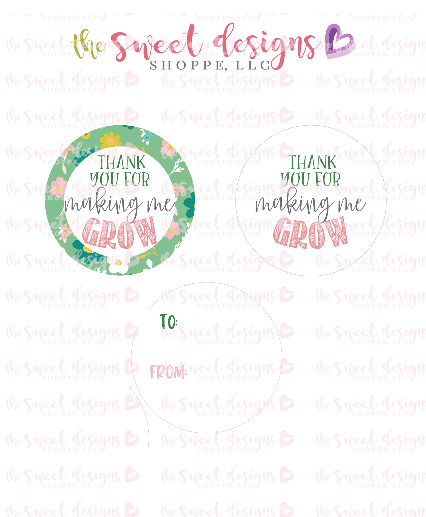 Thank You For Making Me Grow Instant Download 2 Round Tag The