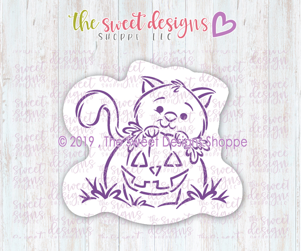 Peeking Cat Behind Pumpkin PYOC Bundle  (Cutter & Stencil)