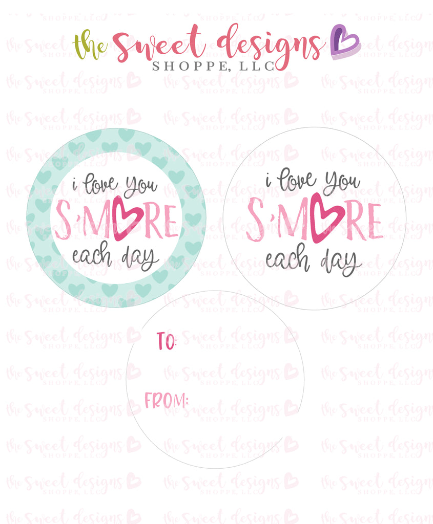 "I love you S'MORE each day - Instant Download 2"" Round Tag"
