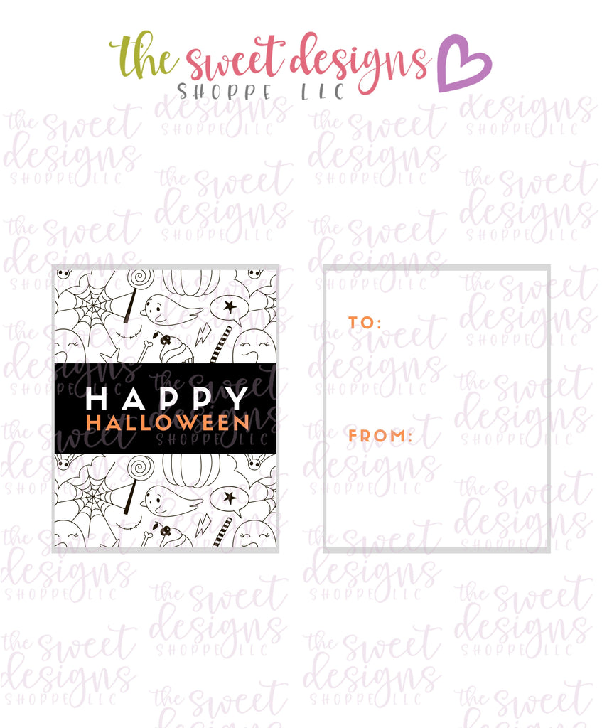 "Happy Halloween #2 - Instant Download 2"" x 2.5"" tag"