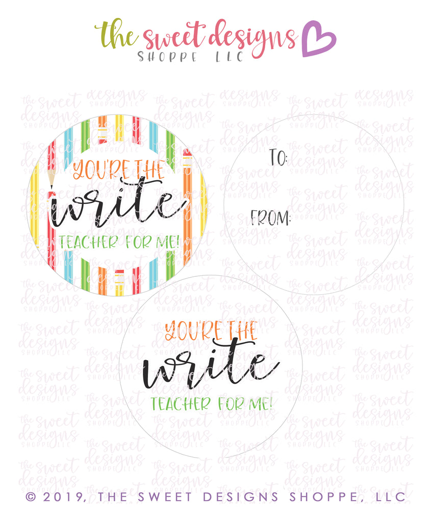 "Write Teacher -  Instant Download 2"" Round Tag"