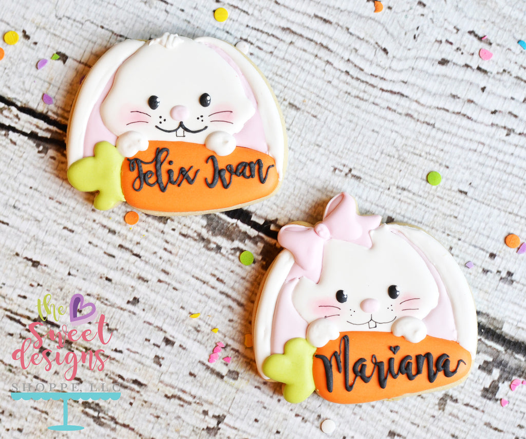 Girly Bunny and Carrot Plaque - Cutter