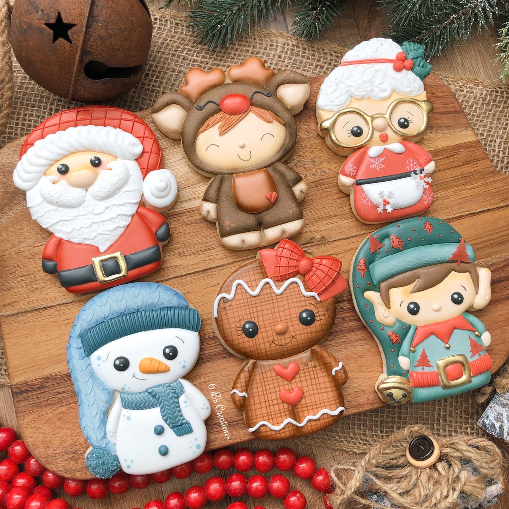 6B's Creations: Christmas Character Online Class Cutters Set - Set of 6 Cutters - Online Class not included.