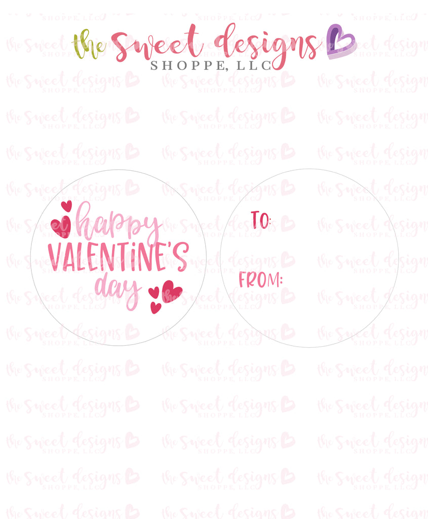 "Happy Valentine's Day- Instant Download 2"" Round Tag"