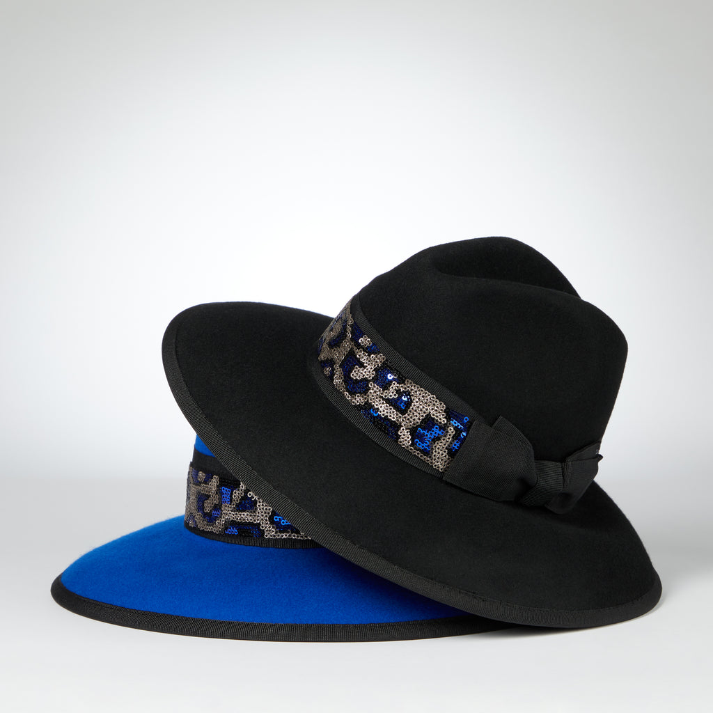 FEDORA WITH SEQUIN ANIMAL TRIM