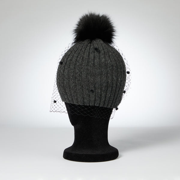 RIBBED PULL ON WITH FAUX FUR POM