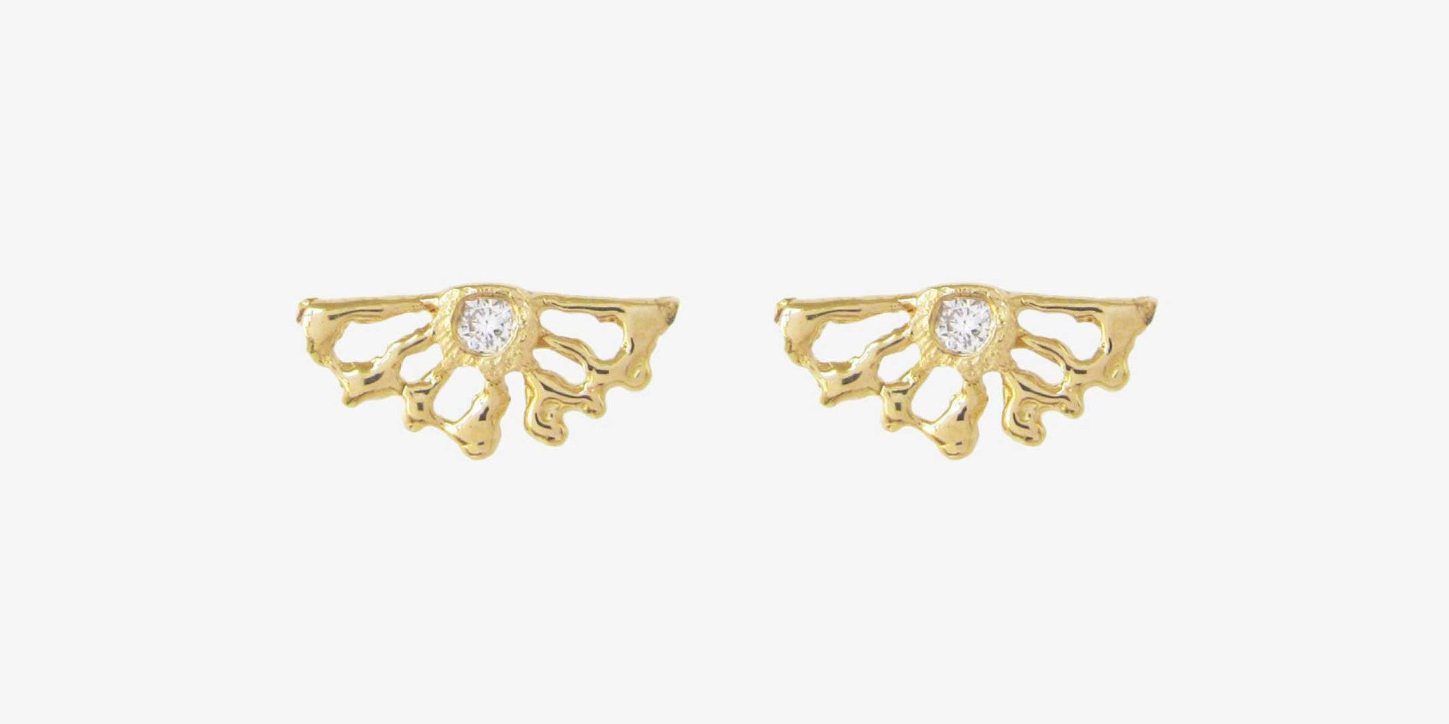 Sunrise Studs with white diamonds
