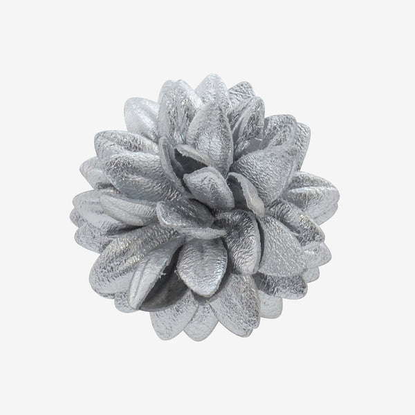Leather Dahlia Pins – silver
