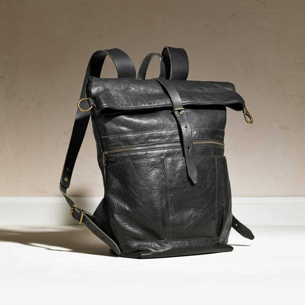 Leather roll-up backpack