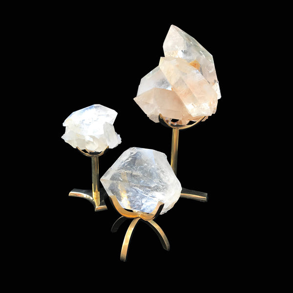 Energetically Charged Stone Set – Clear Quartz Cluster with Stand