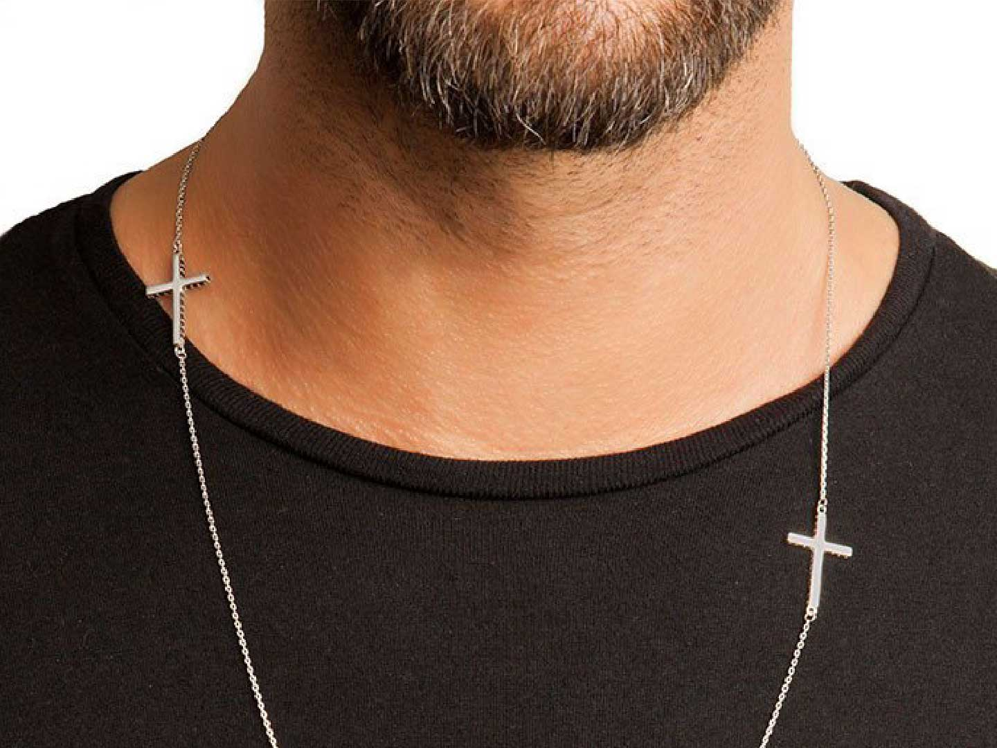 Escapulario Sterling Silver Double Cross Necklace