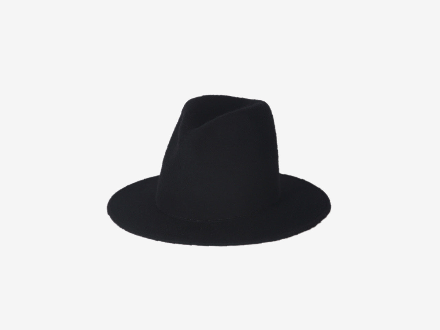 Brim Felted Wool Hat – black