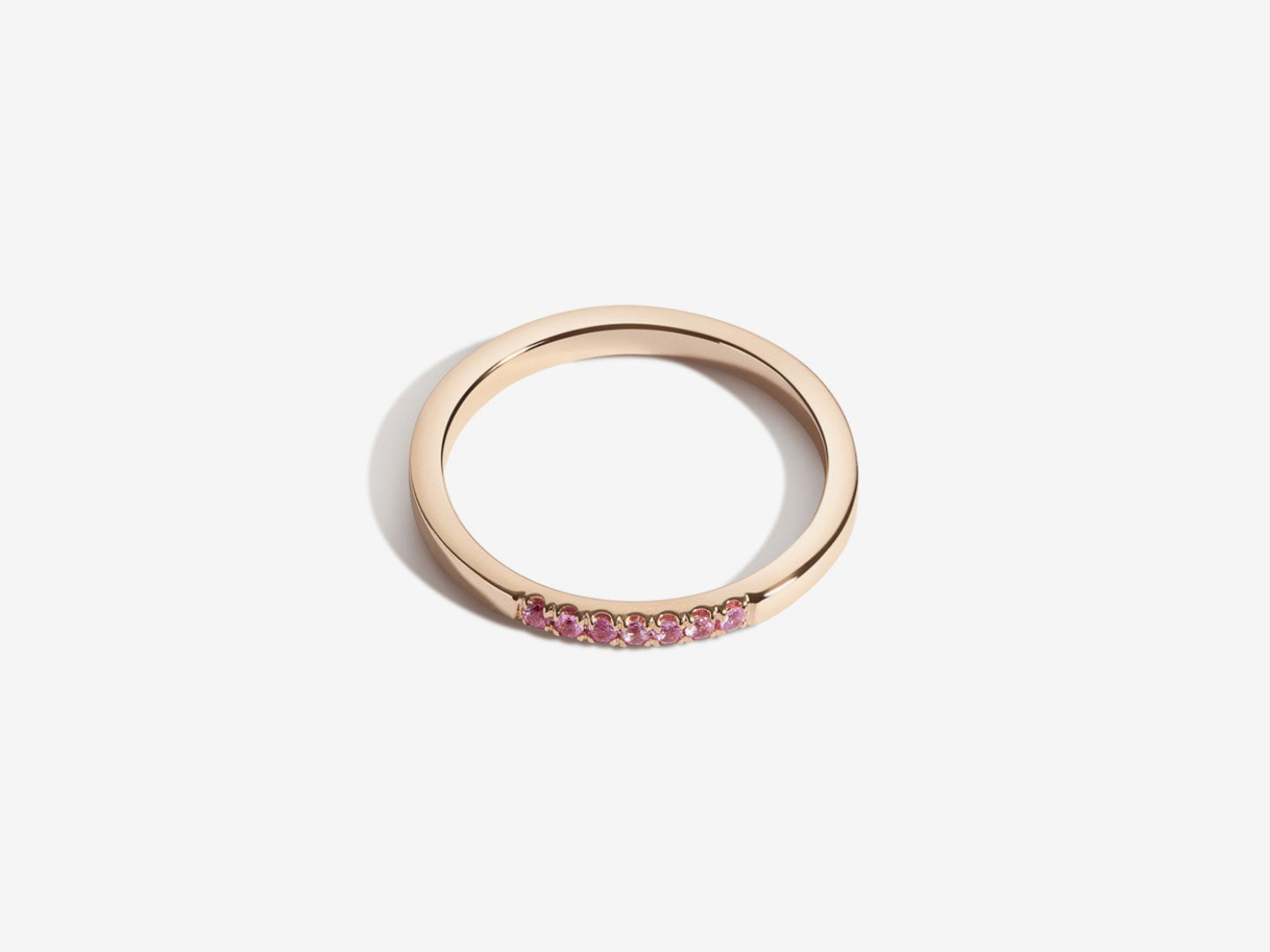 Unisex Baguette Demi Band Ring – pink tourmaline