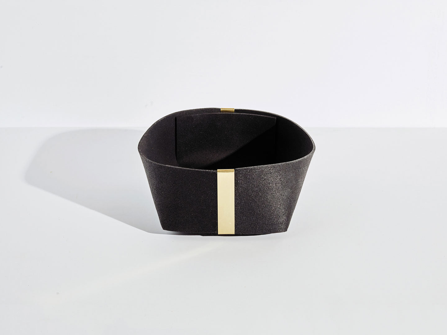 Recycled Rubber and Brass Baskets – black