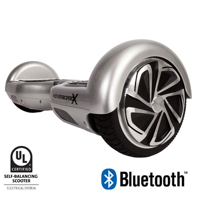 titanium silver hoverboard with bluetooth