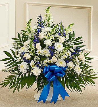 Tribute Blue & White Floor Basket Arrangement Sympathy