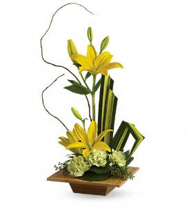 Contemporary Bamboo Artistry Yellow Lilies