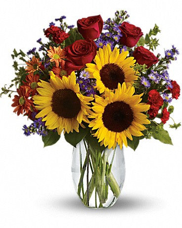 Pure Happiness Red Rose Sunflowers Mixed Bouquet
