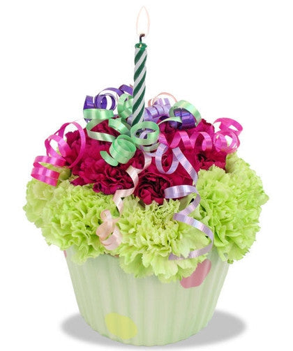 Floral Cupcake Plus, Birthday Mylar Balloon ADD. OPTIONS